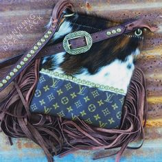 Repurposed LOUIS VUITTON Cross Body Handbag in Tri Color Fuzzy Columbian Cowhide with Fringe by Running Roan Tack