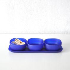 Trio of Bowls on Dish Set by Tina Frey Designs Dish Sets, Summer Essentials, Dog Bowls, Safe Food, Snacks, Tableware, Cobalt, Design, Fall