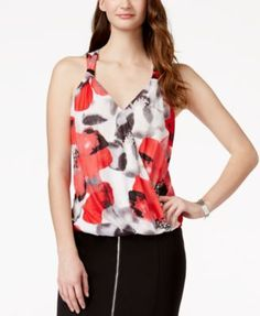 INC International Concepts Printed Surplice Top, Only at Macy's - Women's Brands - Women - Macy's