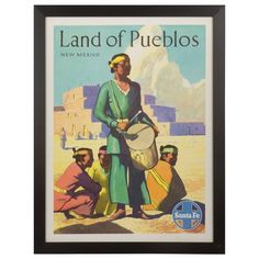 "Vintage, Original Sante Fe Travel Poster ""Land of the Pueblos"" 