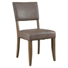 Set of two side chairs with leather-inspired upholstery and nailhead trim.      Product: Set of 2 chairsConstruction ...