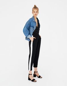 Spodnie tailoring z lampasami - Spodnie - Odzież - Dla Niej - PULL&BEAR Polska