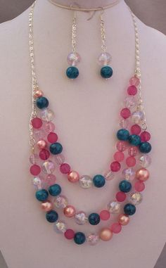 Large Beads Triple Layer Necklace Earring Set by UniquesewingBoutique, $16.00 Think gift giving season coming