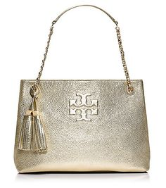 Tory Burch THEA METALLIC CHAIN SHOULDER SLOUCHY TOTE -- Love!