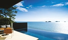 """One Bedroom Pool Villa—Each freestanding villa, complete with a 10 meter infinity edge pool offers spectacular views of the Gulf of Thailand and the majestic sunsets over the fabled """"Five Islands"""" of Koh Samui.  #conradkohsamui"""