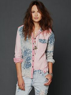 Land Of Liberty Buttondown - I want all of Free People's September catalog
