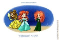 Pocket Princesses by Amy Mebberson  # 26- If Disney princesses lived together: Belle, Ariel, and Merida