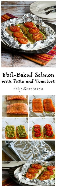 This Easy Foil-Baked Salmon with Basil Pesto and Tomatoes is great any time of year, but it's even more spectacular with late-summer tomatoes! And this tasty dish is low-carb and gluten-free! [from (Baking Salmon Pesto) Baked Salmon Recipes, Fish Recipes, Seafood Recipes, New Recipes, Low Carb Recipes, Dinner Recipes, Cooking Recipes, Favorite Recipes, Healthy Recipes