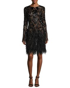 Beaded+Long-Sleeve+Feather-Skirt+Dress,+Black+by+Monique+Lhuillier+at+Neiman+Marcus.
