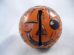 Vintage Halloween Noisemaker ~ Kirchhof Tin Pumpkin Rattle