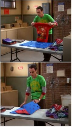I love how Sheldon even has that thing that folds everything perfectly. Did you notice the expression when he found those unknown purple socks...and then folded them in that thing, too? I love Sheldon
