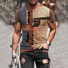 Casual Tops, Casual Shirts For Men, Men Casual, Streetwear Shorts, Neck T Shirt, Boho Style Men, Tee Shirts, Tees, Long Sleeve Shirts