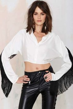 Nasty Gal Wanna Be a Cowboy Fringe Top