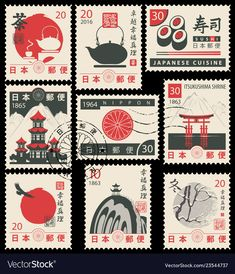 Set of old postage stamps with japanese symbols Vector ImageSet of old postage stamps with japanese symbols Vector + PRINTABLE TEMPLATES for Bible Journalism, Illustrated Faith Bible Clipart Stamps, Scripture Art to Poster Cars, Poster Sport, Poster Retro, Japanese Stamp, Japanese Symbol, Japanese Logo, Vintage Japanese, Japanese Typography, Graphic Design Typography