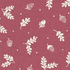 Acorn and Leaf fabric in Cranberry from Vanessa Arbuthnott's Wildflower collection