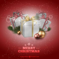 Red Christmas Card with Presents Free Vector