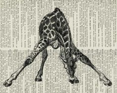 giraffe artwork printed on vintage dictionary page. by FauxKiss on Etsy.