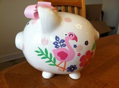Hand painted piggy banks by ClarasBells on Etsy, $35.00