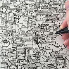 Toledo #art #drawing #pen #sketch #illustration #linedrawing #toledo #spain #españa #architecture #city #cityscape