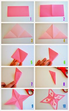 steps to fold and cut origami stars- There's also a video to show these steps on the blog!