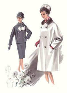 images of fashions of the 1960s   1965 Coat - Fashion History Drawings of the 1960s