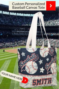 Your favorite ball player will LOVE to see their NAME on this high quality American Made Canvas Tote Bag.