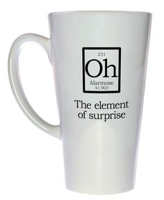 Element of Surprise Mug Fake Periodic Table Chemistry Elements, Latte Size