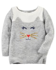 Baby Girl Cat Sweater | Carters.com