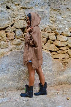 Oversized camel anorak with big hood, pockets and silver clip buttons.