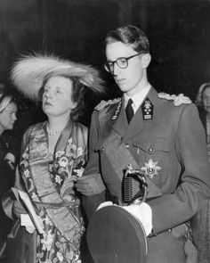 Queen Juliana of The Netherlands  | The Royal Hats Blog-Queen Juliana with a young King Baudouin of Belgium at the wedding of Baudouin's sister Princess Josepine Charlotte of Belgium to Prince Jean of Luxembourg, April 9, 1953