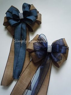 Burlap Denim Wedding Pew Bow Navy Burlap Wedding Chair Bow Rustic Denim and Burl. - Life with Alyda Burlap Denim Wedding Pew Bow Navy Burlap Wedding Chair Bow Rustic Denim and Burl. Navy Burlap Wedding, Denim Wedding, Bling Wedding, Trendy Wedding, Rustic Wedding, Ribbon Wedding, Church Pew Wedding Decorations, Wedding Church Aisle, Wedding Pews