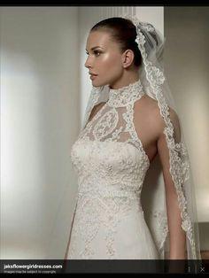 Turtle neck lace wedding dress