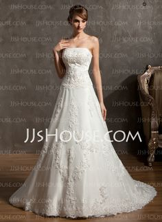 Wedding Dresses - $264.99 - A-Line/Princess Strapless Chapel Train Satin Tulle Wedding Dress With Lace Beadwork (002014940) http://jjshouse.com/A-Line-Princess-Strapless-Chapel-Train-Satin-Tulle-Wedding-Dress-With-Lace-Beadwork-002014940-g14940