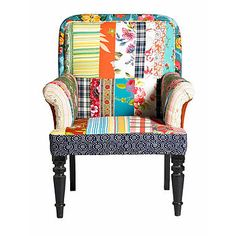 Patchwork Armchair by Out There Interiors. Seen at Not On The High Street. Quirky separate sections of fabric are sewn together in a random style.