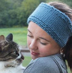 Chunky Knit Headband, Hand Knit Hair Band, Winter Ear Warmer, Head Wrap in Blue, Gift for Teen Girl, Winter Accessories