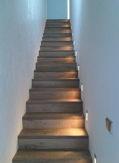 Stairway lighting Ideas with spectacular and moderniInteriors, Nautical stairway, Sky Loft Stair Lights, Outdoors Stair Lights, Contemporary Stair Lighting. Narrow Staircase, Wooden Staircases, Wooden Stairs, Concrete Stairs, Stairways, Grand Staircase, Staircase Lighting Ideas, Stairway Lighting, Lights For Stairs