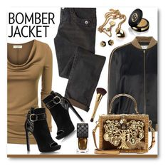 """""""Winter Style: Bomber Jacket"""" by brendariley-1 ❤ liked on Polyvore featuring Yves Saint Laurent, Dolce&Gabbana, Gucci, tarte, women's clothing, women, female, woman, misses and juniors"""