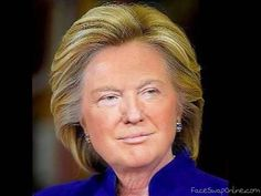 Edit images for free using the online compositor. Take Hillary Trump as a template or generate your own. Caricatures, Funny Face Swap, Donald Trump Funny, Election News, Face Swaps, Funny Faces, People, Comedy, Funny Pictures