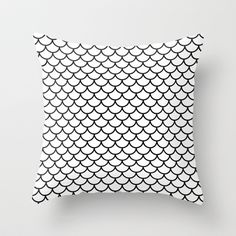 Simple Scales Throw Pillow by RichCaspian - $20.00 #pillow #case #cover #white #black #blackandwhite #scales #pattern #simple #cute #dragon #lizard #homedecor #pillows #throwpillow #bedding #sofa #society6