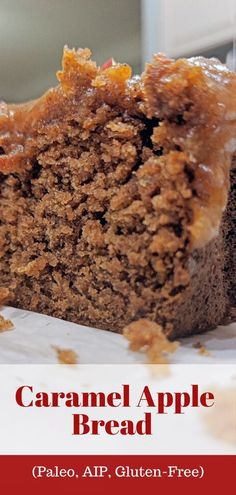"""This gooey caramel apple bread is simple, warm, comforting and delicious not to mention egg-free, dairy free, and grain-free. It's a great recipe to keep you on your AIP """"diet"""" while not missing out on fabulous baked goodies during the holiday season. Egg And Grapefruit Diet, Boiled Egg Diet Plan, Apple Bread, Just Eat It, Dessert For Dinner, Caramel Apples, Gluten Free Recipes, Bread Recipes, Crockpot Recipes"""