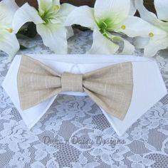 Khaki Linen Dog Bow Tie Collar