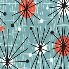 Michael Miller atomic Mid Century Modern Fabric, Mid Century Art, Mid Century Decor, Mid Century Modern Design, Mid Century Style, Illustration Photo, Illustrations, Pattern Illustration, Miller Homes