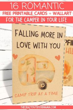 9 Most Romantic Camping Gifts + 19 FREE Camping Valentine Printables! Perfect ideas for boyfriends, girlfriends husbands or wives who love camping! Romantic camping quotes on pretty wall art + some gifts that will get the mood going at the next camp trip! Camping Crafts For Kids, Camping With A Baby, Camping With Toddlers, Camping Gifts, Camping Activities, Rv Camping, Free Printable Cards, Printables, Diy Camper Organization
