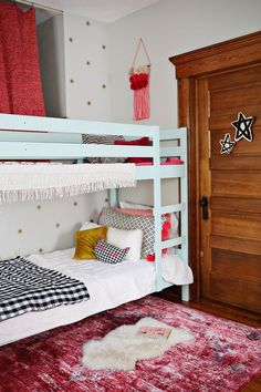 Ruby's mini room makeover where we embraced pink! Check out these renter-friendly options for making the most of your child's space Ruby Room, Kids Room Design, Kid Spaces, Girl Room, Kids Bedroom, Interior Design, Kid Rooms, Furniture, Bunk Bed