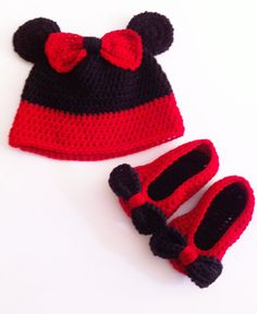 Mouse Hat - Crochet Baby Girl Red Hat - Red Booties - Photo Prop- Toddler, Children on Etsy, $25.00