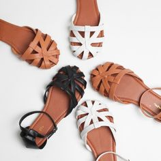"""Cognac Faux Leather Woven Huaraches Sandal Flats Cognac Faux Leather 2 Piece Flat Sandals 