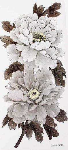 long Phoenix Tattoo | Temporary Tattoos black flowers peony flowers View Details