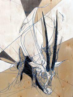 "Denver-based illustrator Jason Thielke Arabian Oryx    Laser etch, acrylic, aerosol, ink on wood panel    23"" x 30""    2009"