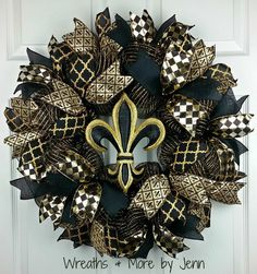 Saint's Deco Mesh Wreath, Black and Gold Wreath, Geo Mesh Wreath