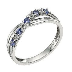 My wedding ring! 9ct White Gold Diamond & Tanzanite Crossover Ring - Product number 9589422